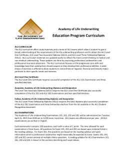ALU Curriculum - Academy of Life Underwriting
