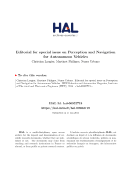 Editorial for special issue on Perception and Navigation for