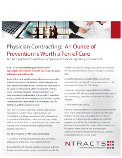 Physician Contracting: An Ounce of Prevention Is Worth a