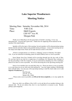 Lake Superior Woodturners Meeting Notice