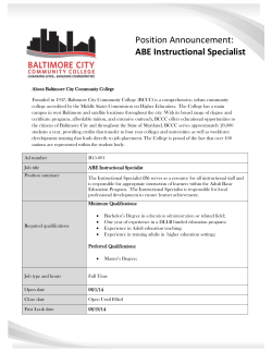 ABE Instructional Specialist - Baltimore City Community College