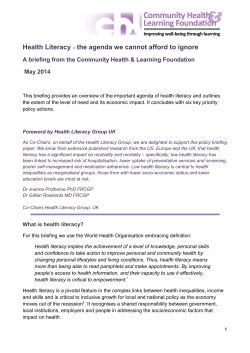 Health Literacy – the agenda we cannot afford to ignore