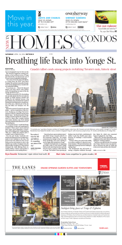 Breathing life back into Yonge St. Toronto Star, April 26