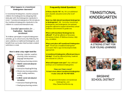 TRANSITIONAL KINDERGARTEN - Brisbane School District