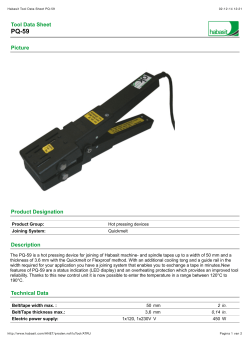 Habasit Tool Data Sheet PQ-59