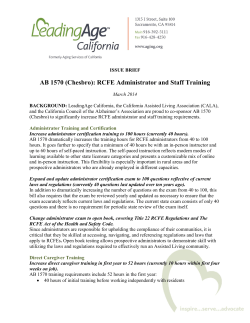 AB 1570 (Chesbro): RCFE Administrator and Staff Training
