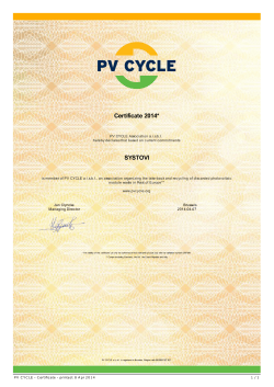 PV CYCLE - Certificate
