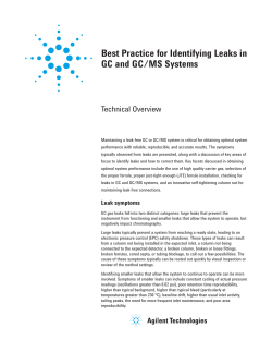 Best Practice for Identifying Leaks in GC and GC/MS Systems