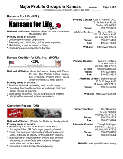 Major Active ProLife Groups in Kansas