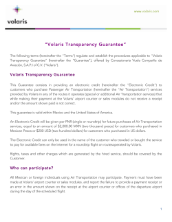Terms and conditions: Volaris Transparency Guarantee