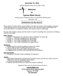 Weekly Bulletin - Cypress Bible Church