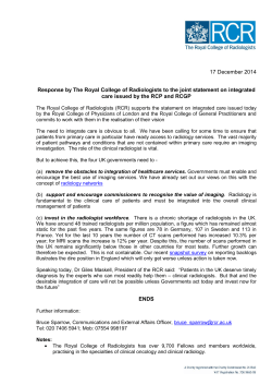 17 December 2014 Response by The Royal College of Radiologists