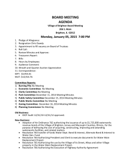 BOARD MEETING AGENDA January 5th 7PM