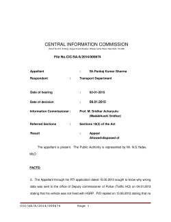 Decision No. CIC/SA/A/2014/000674 dated 09-01