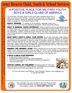 (BGCA) Fact Sheet - Army Reserve Family Programs