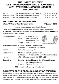 Weekly Sheet - Three Saints, Winchester