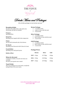 Drinks Menu and Packages - The Venue at Kersey Mill