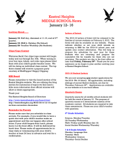 Kestrel Heights MIDDLE SCHOOL News January 12