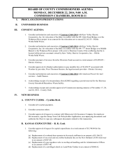 BOARD OF COUNTY COMMISSIONERS AGENDA