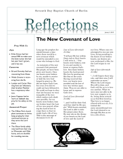 """Reflections"" from 1/3/15 - Berlin Seventh Day Baptist Church"