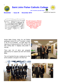 2014 December Newsletter - Saint John Fisher Catholic College