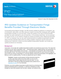IRS Updates Guidance on Transportation Fringe - FYI