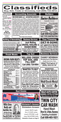 Classifieds - The Estill County Tribune