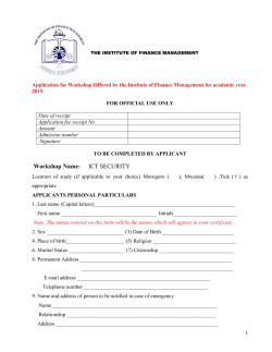 Form for ICT Security Workshop - The Institute of Finance Management