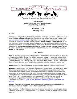 2015 ACHRC Newsletter - Alexander City Horse Riding Club