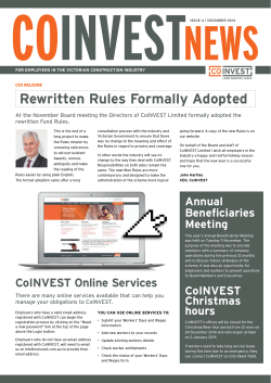 CoINVEST News Edition 4 2014