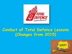 Conduct of Total Defence Lessons (Changes from 2015)