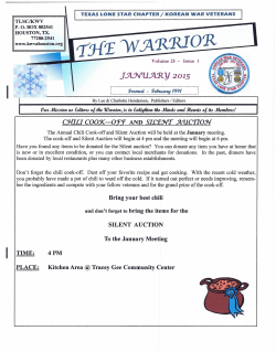 Warrior Newsletter January 2015 - Korean War Veterans