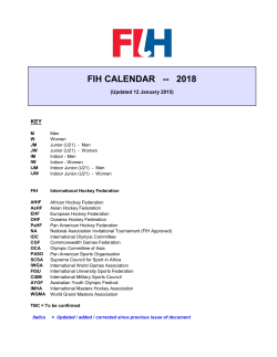FIH CALENDAR -- 2018 - International Hockey Federation