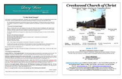 Bulletin - The Church of Christ at Creekwood