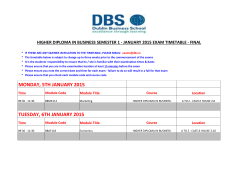 Higher Diploma in Business January 2015 Exam