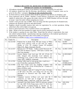 Weekly Bulletin Tender to be opened on 08/01