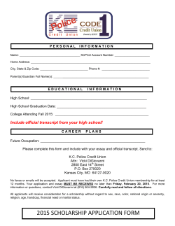 2015 SCHOLARSHIP APPLICATION FORM