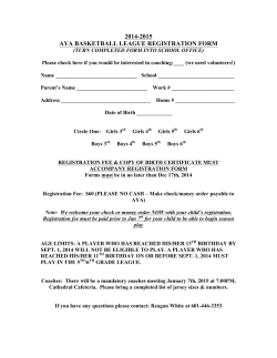 AYA BASKETBALL LEAGUE REGISTRATION FORM 2014-15