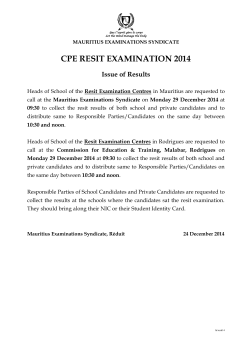 CPE Resit Examination 2014 - Issue of Results