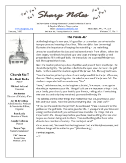 Newsletter - Sharp Memorial United Methodist Church, Young Harris