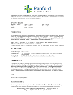 Download Ranford Medical Centre Practice Information Sheet