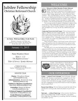 Bulletin (PDF) - Jubilee Fellowship CRC