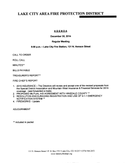 Next Meeting Agenda - Lake City Area Fire Protection District