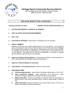 board meeting agenda - Heritage Ranch Community Services District