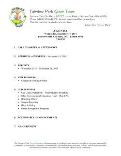 Meeting Materials - City of Fairview Park