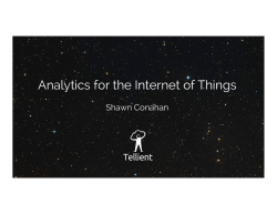 Analytics for the Internet of Things