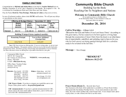 Bulletin 2014-12-28 - Community Bible Church
