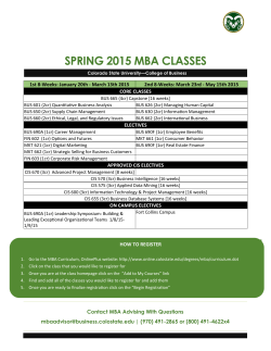 SPRING 2015 MBA CLASSES - Online MBA Student Resources