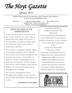 Download the Hoyt Gazette - Hoyt Nursing $ Rehab Centre