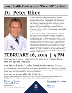 Dr. Peter Rhee - University of Arizona